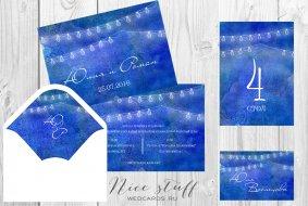 Акварельные приглашения в синем цвете